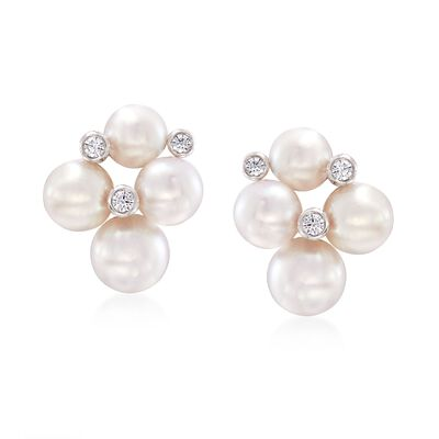 "Mikimoto ""Bubbles"" 4.75-6mm A+ Akoya Pearl Cluster Earrings with Diamond Accents in 18kt White Gold"