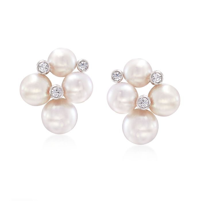 "Mikimoto ""Bubbles"" 4.75-6mm A+ Akoya Pearl Cluster Earrings with Diamond Accents in 18kt White Gold, , default"