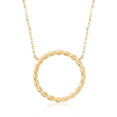 18kt Yellow Gold Twisted Open Circle Necklace, , default