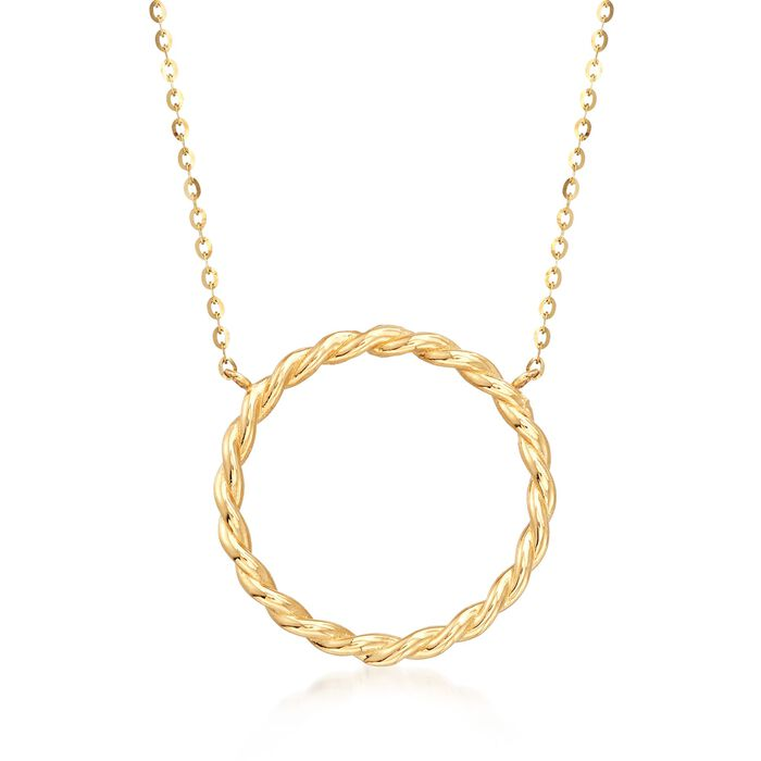 "18kt Yellow Gold Twisted Open Circle Necklace. 18"", , default"