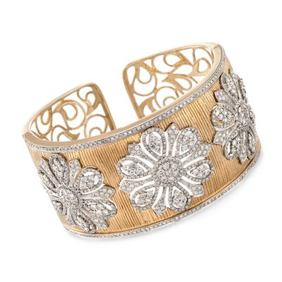 7.85 ct. t.w. Diamond Floral Wide Cuff Bracelet in 18kt Yellow Gold, , default