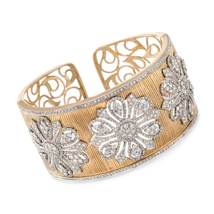 7.85 ct. t.w. Diamond Floral Wide Cuff Bracelet in 18kt Yellow Gold. 6""