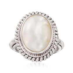 13-18mm Mabe Pearl Balinese Ring in Sterling Silver. Size 7, , default