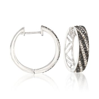 """.60 ct. t.w. Black and White Diamond Striped Hoop Earrings in Sterling Silver. 5/8"""", , default"""