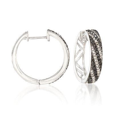 .60 ct. t.w. Black and White Diamond Striped Hoop Earrings in Sterling Silver, , default