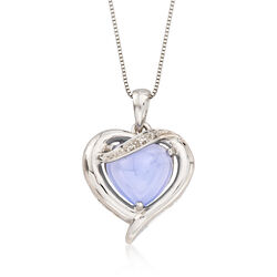 C. 2000 Vintage Lavender Jade Heart Pendant Necklace With Diamond Accents in 14kt White Gold, , default
