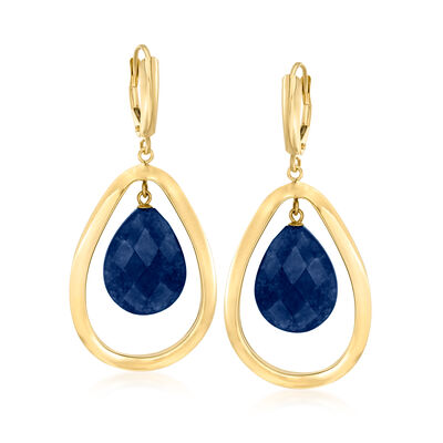 20.00 ct. t.w. Sapphire Teardrop Earrings in 14kt Yellow Gold