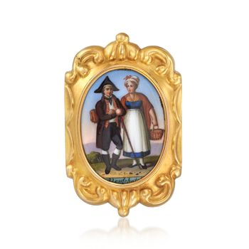 C. 1920 Vintage Multicolored Enamel Swiss Couple Pin in 14kt Yellow Gold , , default