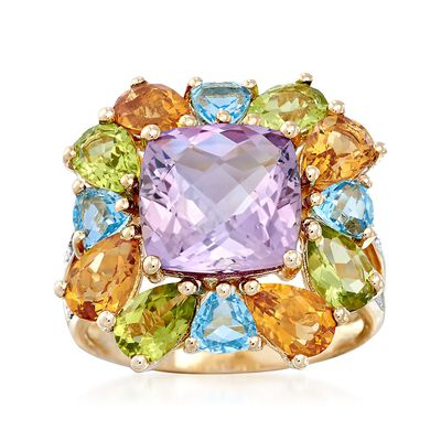 7.70 ct. t.w. Multi-Stone Ring With Diamond Accents in 14kt Yellow Gold, , default