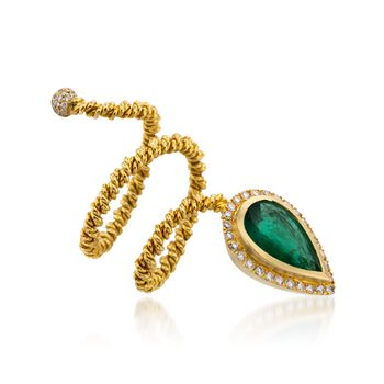 C. 1990 Vintage 2.15 Carat Emerald and .55 ct. t.w. Diamond Snake Ring in 18kt Yellow Gold. Size 6, , default