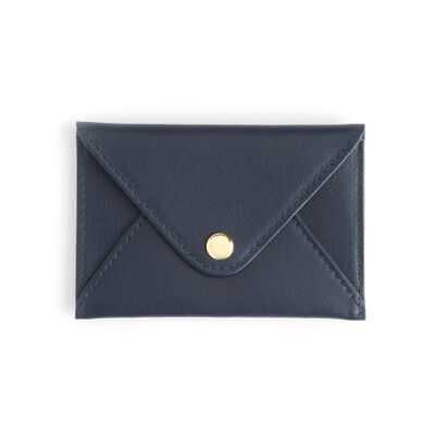 Royce Blue Leather Three-Initial Envelope-Style Business Card Holder