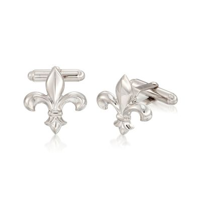 Sterling Silver Fleur-De-Lis Cuff Links, , default