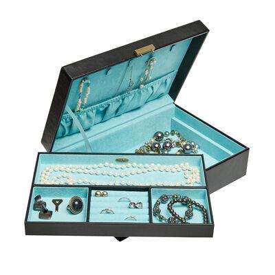 "Mele & Co. ""Lola Black Faux Leather Locking Jewelry Box, , default"