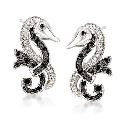 .50 ct. t.w. Black and White Diamond Seahorse Earrings in Sterling Silver, , default
