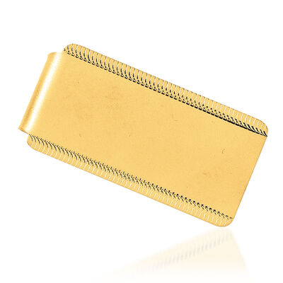 14kt Yellow Gold Engravable Sandblast & Edge-Design Money Clip
