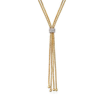 "Phillip Gavriel ""Popcorn"" .12 ct. t.w. Diamond Lariat Necklace in 14kt Yellow Gold"