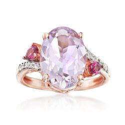 4.80 Carat Pink Amethyst Ring With Rhodolite Garnets and White Topaz in 18kt Rose Gold Over Sterling, , default