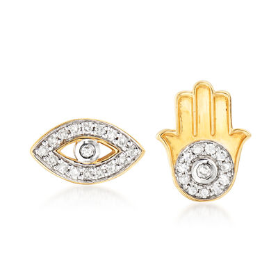 14kt Yellow Gold Hamsa Hand and Evil Eye Stud Earrings with Diamond Accents