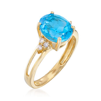 3.00 Carat Swiss Blue Topaz Ring in 14kt Yellow Gold, , default