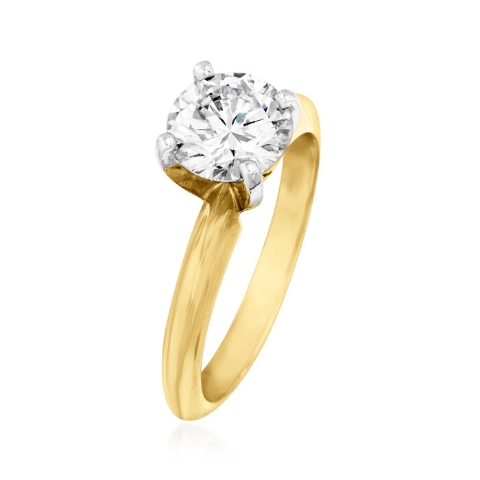 1.32 Carat Diamond Solitaire Ring in 14kt Yellow Gold