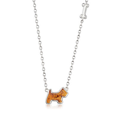 Amber Dog and Bone Necklace in Sterling Silver
