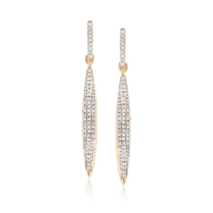 .14 ct. t.w. Pave Diamond Elongated Drop Earrings in 14kt Yellow Gold, , default