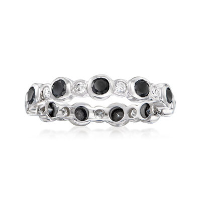 1.00 ct. t.w. Bezel-Set Black and White Diamond Eternity Band in 14kt White Gold