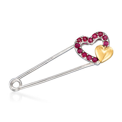 .50 ct. t.w. Ruby Heart Safety Pin in Sterling Silver and 14kt Yellow Gold, , default
