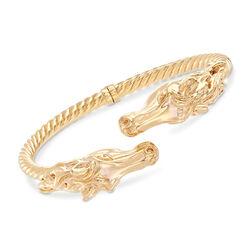 Italian 14kt Yellow Gold Horse Cuff Bracelet, , default