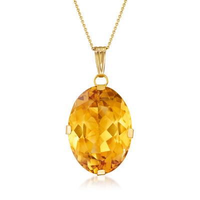 C. 1970 Vintage 50.00 Carat Citrine Pendant Necklace in 21kt and 14kt Yellow Gold