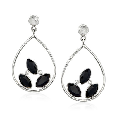 Black Onyx Openwork Drop Earrings in Sterling Silver
