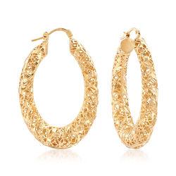 "Italian 18kt Gold Over Sterling Openwork Hoop Earrings. 1 3/4"", , default"