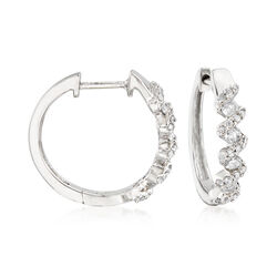 ".52 ct. t.w. Diamond Zigzag Hoop Earrings in Sterling Silver. 5/8"", , default"