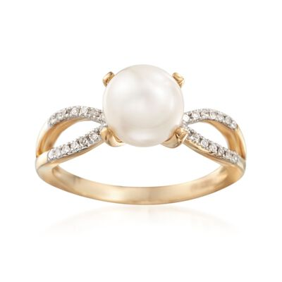 8mm Cultured Pearl and .10 ct. t.w. Diamond Ring in 14kt Yellow Gold, , default