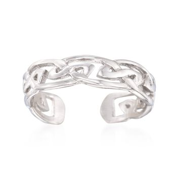 Sterling Silver Fancy Knot Toe Ring, , default