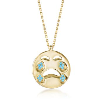"""14kt Yellow Gold Over Sterling Crying Emoji Necklace With Simulated Turquoise. 18"""", , default"""