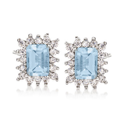 2.20 ct. t.w. Aquamarine and .80 ct. t.w. White Zircon Stud Earrings in Sterling Silver, , default