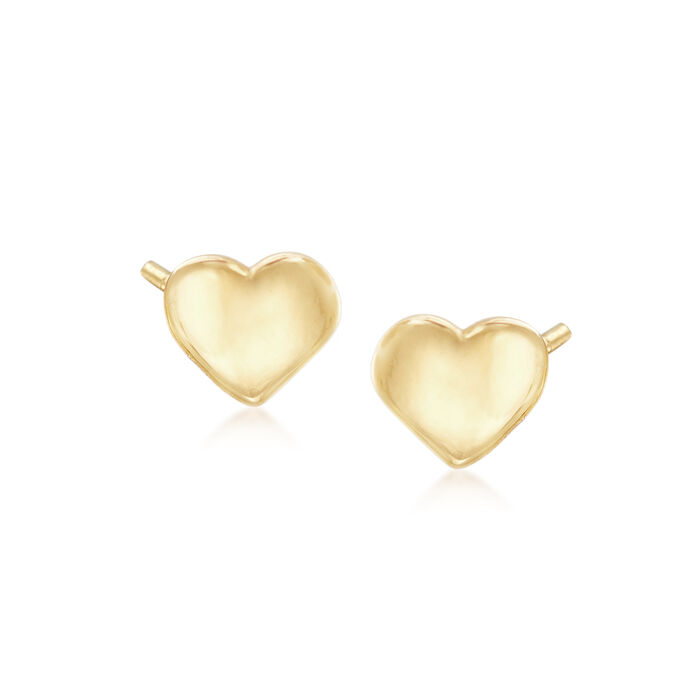 14kt Yellow Gold Heart Stud Earrings, , default