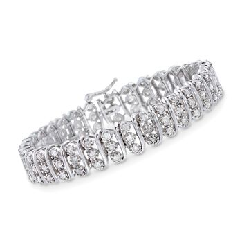 5.00 ct. t.w. Diamond Three-Row Bracelet in Sterling Silver, , default