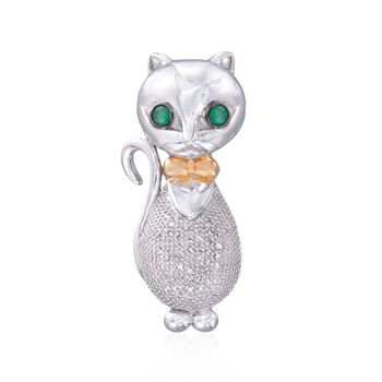 .10 ct. t.w. Diamond Bow-Tied Cat Pendant With Emeralds in Two-Tone , , default