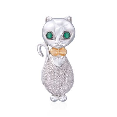 .10 ct. t.w. Diamond Bow-Tied Cat Pendant with Emeralds in Two-Tone, , default