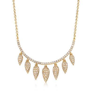 .59 ct. t.w. Diamond Multi-Teardrop Bib Necklace in 14kt Yellow Gold