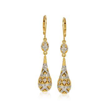 .20 ct. t.w. Diamond Teardrop Earrings in 18kt Gold Over Sterling, , default