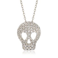 ".70 ct. t.w. CZ Skull Necklace in Sterling Silver. 18"", , default"