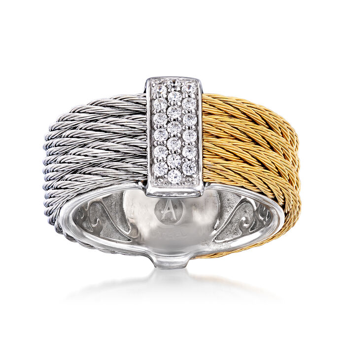 "ALOR ""Classique"" .16 ct. t.w. Diamond Two-Tone Stainless Steel Cable Ring with 18kt White Gold. Size 7, , default"