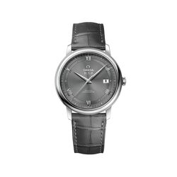 Omega De Ville Prestige Men's 39.5mm Stainless Steel Watch With Gray Leather Strap and Dial , , default