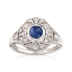 C. 1990 Vintage .70 Carat Sapphire and .20 ct. t.w. Diamond Ring in 14kt White Gold, , default