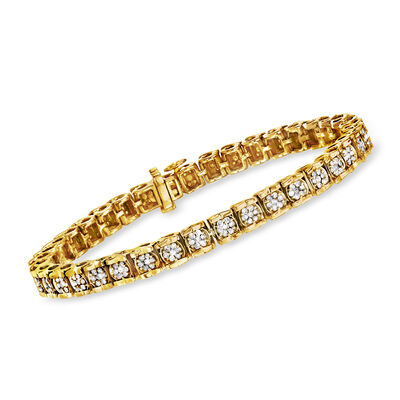 2.00 ct. t.w. Diamond Cluster Tennis Bracelet in 18kt Gold Over Sterling