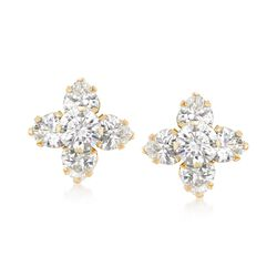 3.00 ct. t.w. CZ Clover Earrings in 14kt Yellow Gold, , default