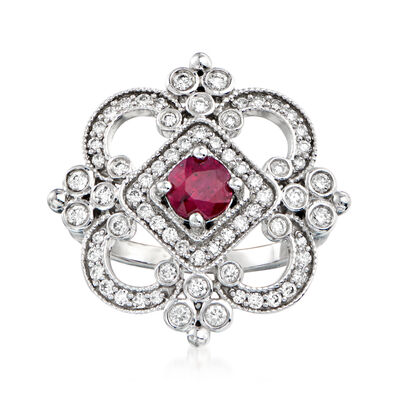 C. 1990 Vintage .85 Carat Ruby and .89 ct. t.w. Diamond Ring in 18kt White Gold